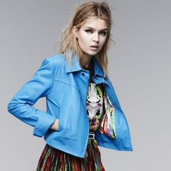 Leather jacket in Dresden Blue, $199.99