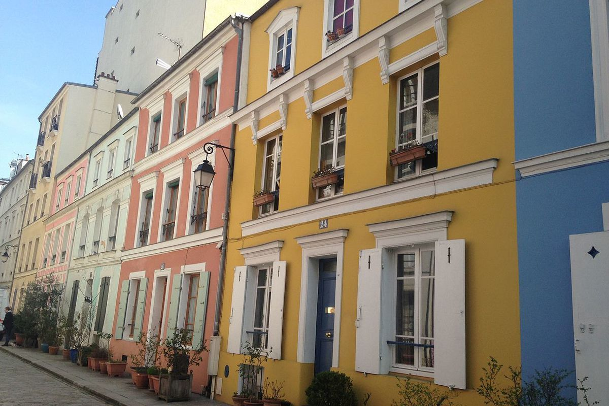 Colorful houses on cobblestone street