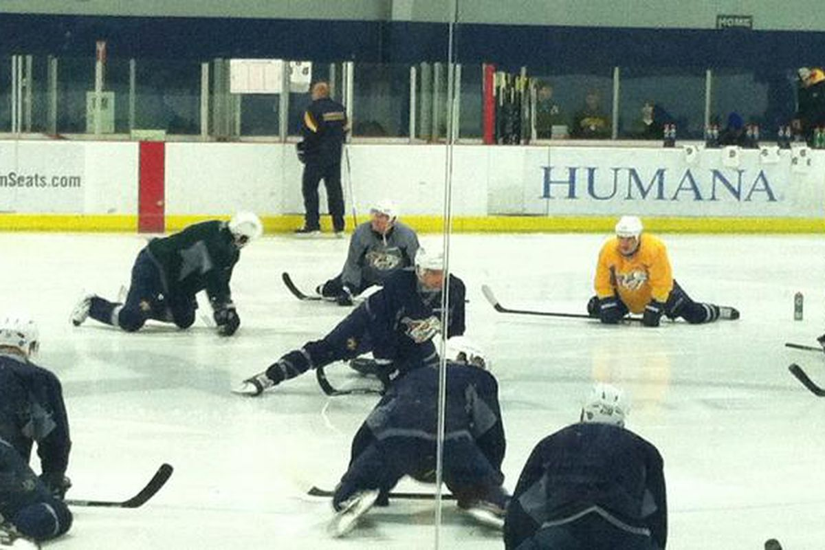 Shea Weber leads the Preds as they stretch at today's open practice.
