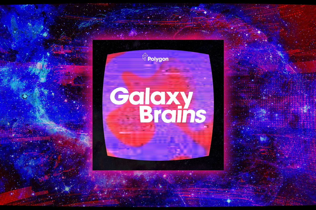 Galaxy Brains logo in a glowing square on a glitchy red/purple background