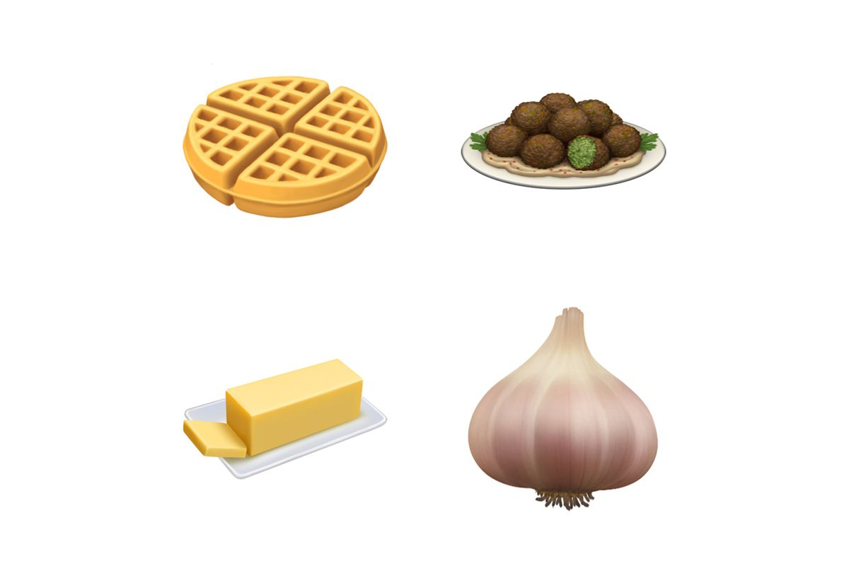 Emoji of a waffle, a plate of falafel, butter, and garlic.