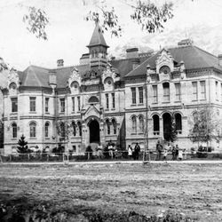 A turn of the century view of the Brigham Young Academy, now the city's library.