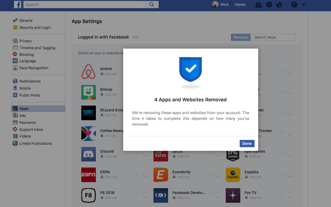 Facebook now lets you bulk remove third-party apps, and any