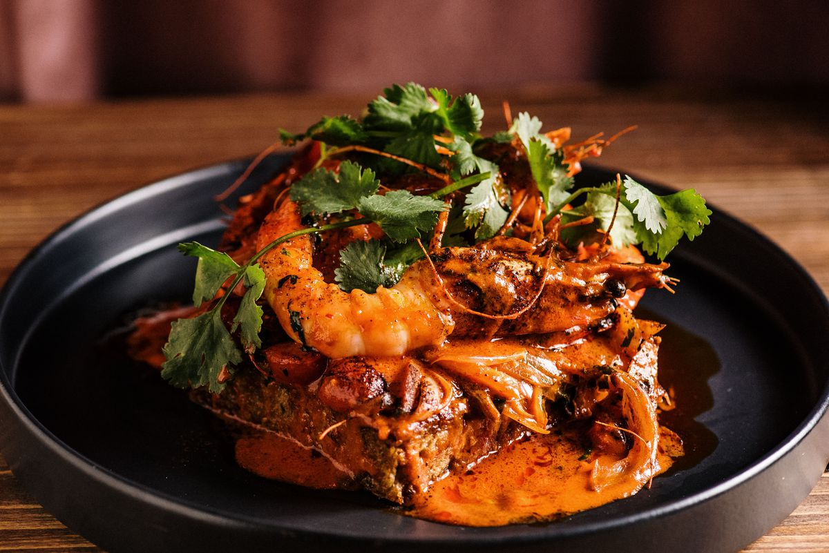 The Akko Prawns at Aziza in Westside Provisions District