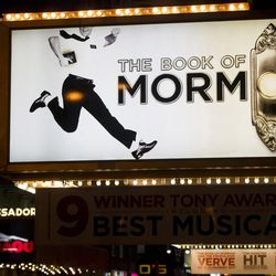"""The Eugene O'Neill Theatre and the marquee for """"The Book of Mormon"""" are seen in New York, Thursday, Jan. 19, 2012. (AP Photo/Charles Sykes)"""