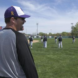 In this April 5, 2012, photo, Bellevue University baseball coach Duane Monlux  supervises team practice in Omaha, Neb. College baseball coaches have always beaten the bushes looking for players. But nowadays, with the help of an online coach-to-coach recruiting network called Fieldlevel, coaches in need of players can turn to cyberspace and put out the word. Chances are that within hours they'll hear back from high school and junior-college coaches eager to play matchmaker.