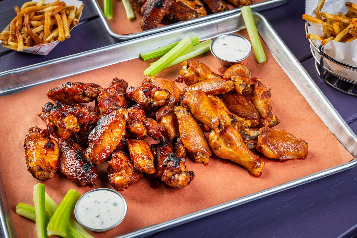 Smoked and grilled wings from Stupid Good BBQ come with an Alabama white sauce.