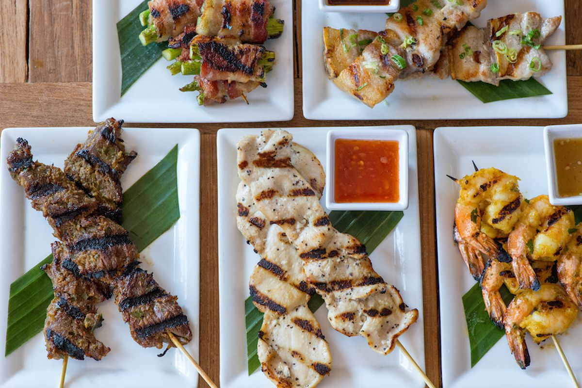 L-R, top row: Asparagus wrapped with bacon; pork belly. Bottom row: Beef; chicken; shrimp.