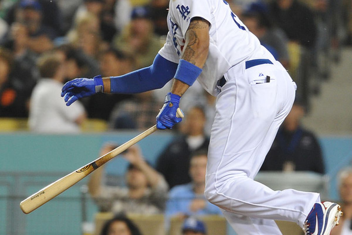 Los Angeles Dodgers center fielder Matt Kemp will miss some time with a strained hamstring. Mandatory Credit: Jayne Kamin-Oncea-US PRESSWIRE