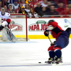 Ovechkin Turns With Puck at Blue Line