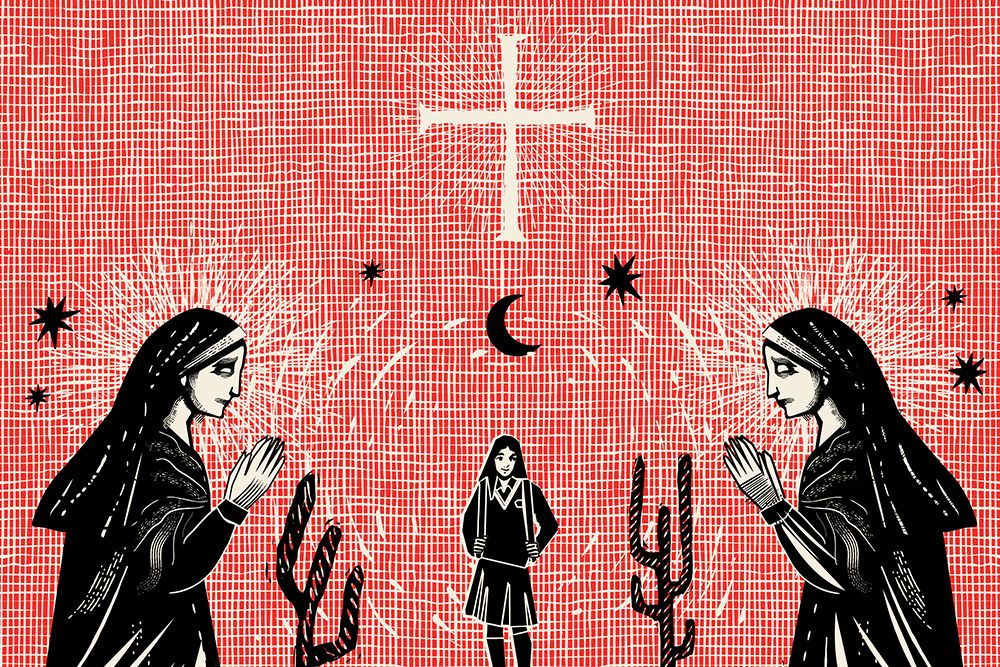 Illustration of nuns looking at a schoolgirl amid cactuses and stars