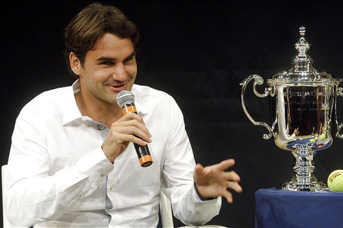 Roger Federer, of Switzerland, responds to questions during a news interview during a news conference to promote the U.S. Open tennis tournament, Thursday.