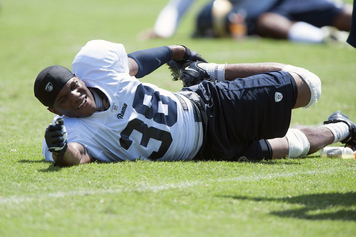 July 27, 2012; St. Louis, MO, USA; St. Louis Rams safety Rodney Mcleod (38) stretches after training camp at ContinuityX Training Center. Mandatory Credit: Jeff Curry-US PRESSWIRE