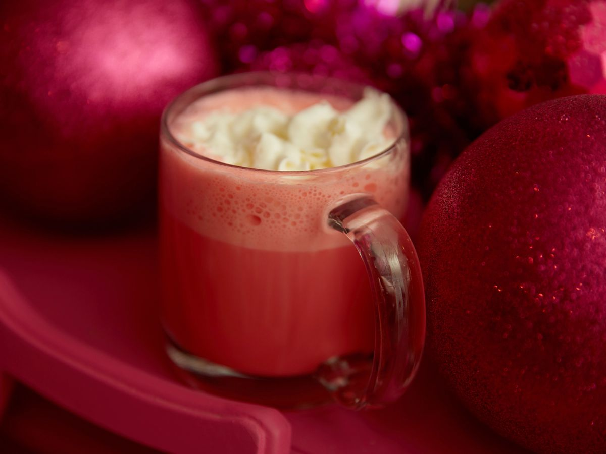 Hot white chocolate that's been dyed pink