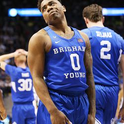 Brigham Young Cougars guard Jahshire Hardnett (0) reacts after a foul call against the Cougars as BYU and Gonzaga play in an NCAA basketball game in the Marriott Center in Provo on Saturday, Feb. 24, 2018. Gonzaga won 79-65.