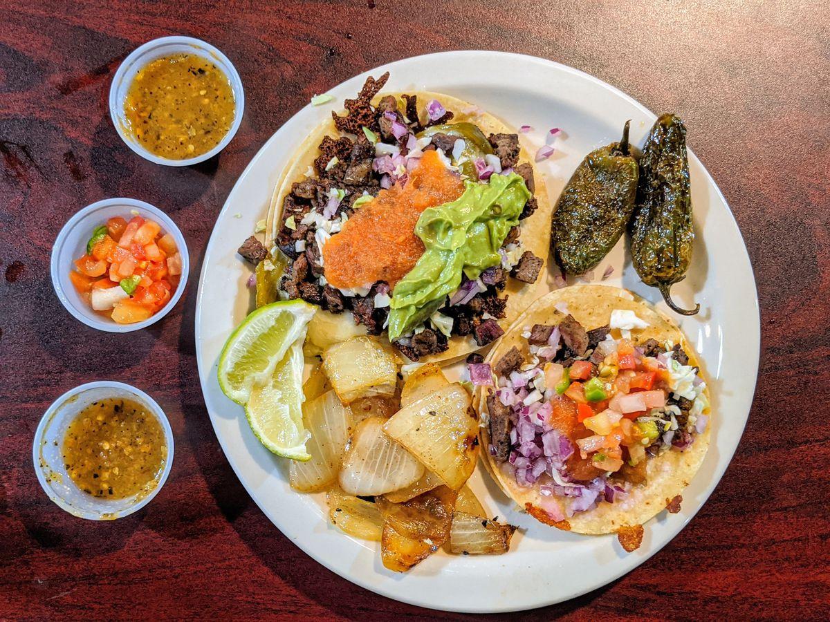 Carne asada tacos at Taquería Mazatlán.