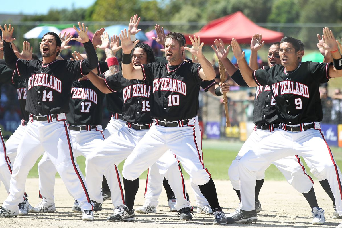 """This is the New Zealand national men's softball team doing the traditional haka war dance, because it was one of very few photos that SBN has under the keyword """"softball."""" And, it's pretty cool."""
