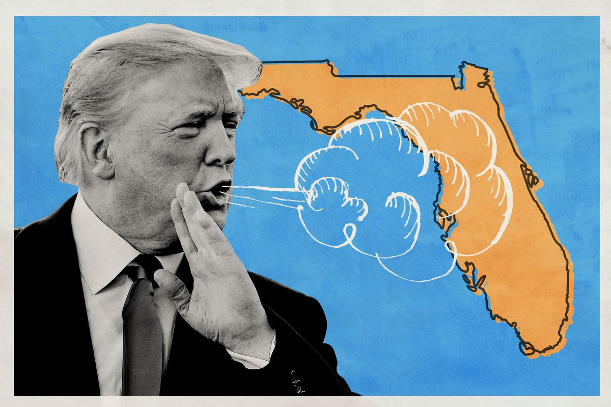 Illustration of Donald Trump breathing wind onto the state of Florida