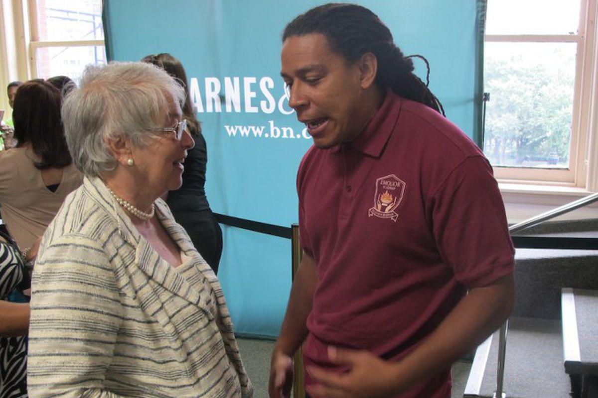 Chancellor Carmen Fariña spoke with Emolior Academy Principal Derick Spaulding during the kickoff of SummerSail in 2014.