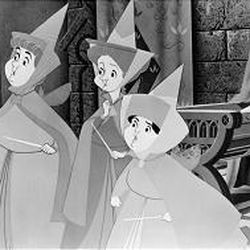 """The three good fairies, Flora, Fauna and Merryweather, pledge to protect the young maiden in Disney's new """"Sleeping Beauty"""" DVD."""