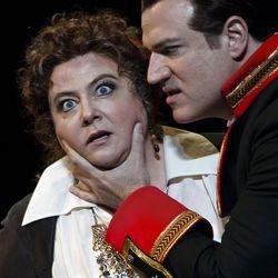 "Elizabeth Bishop as Azucena and Michael Chioldi  as Count di Luna in Utah Opera's production of ""Il Trovatore."""