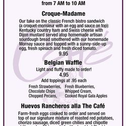 The Cafe's breakfast specials