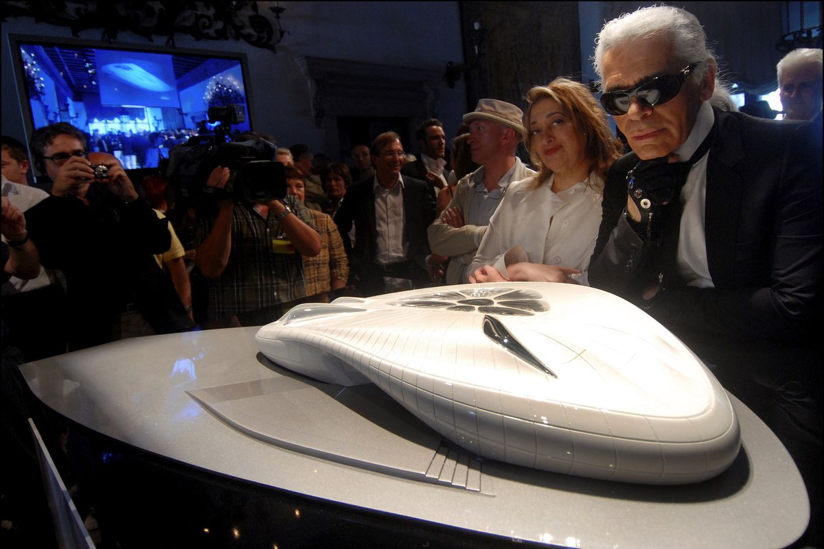 Late legends Karl Lagarfeld and Zaha Hadid presenting the Chanel Mobile Art Pavilion in Venice, Italy, in June 2007.
