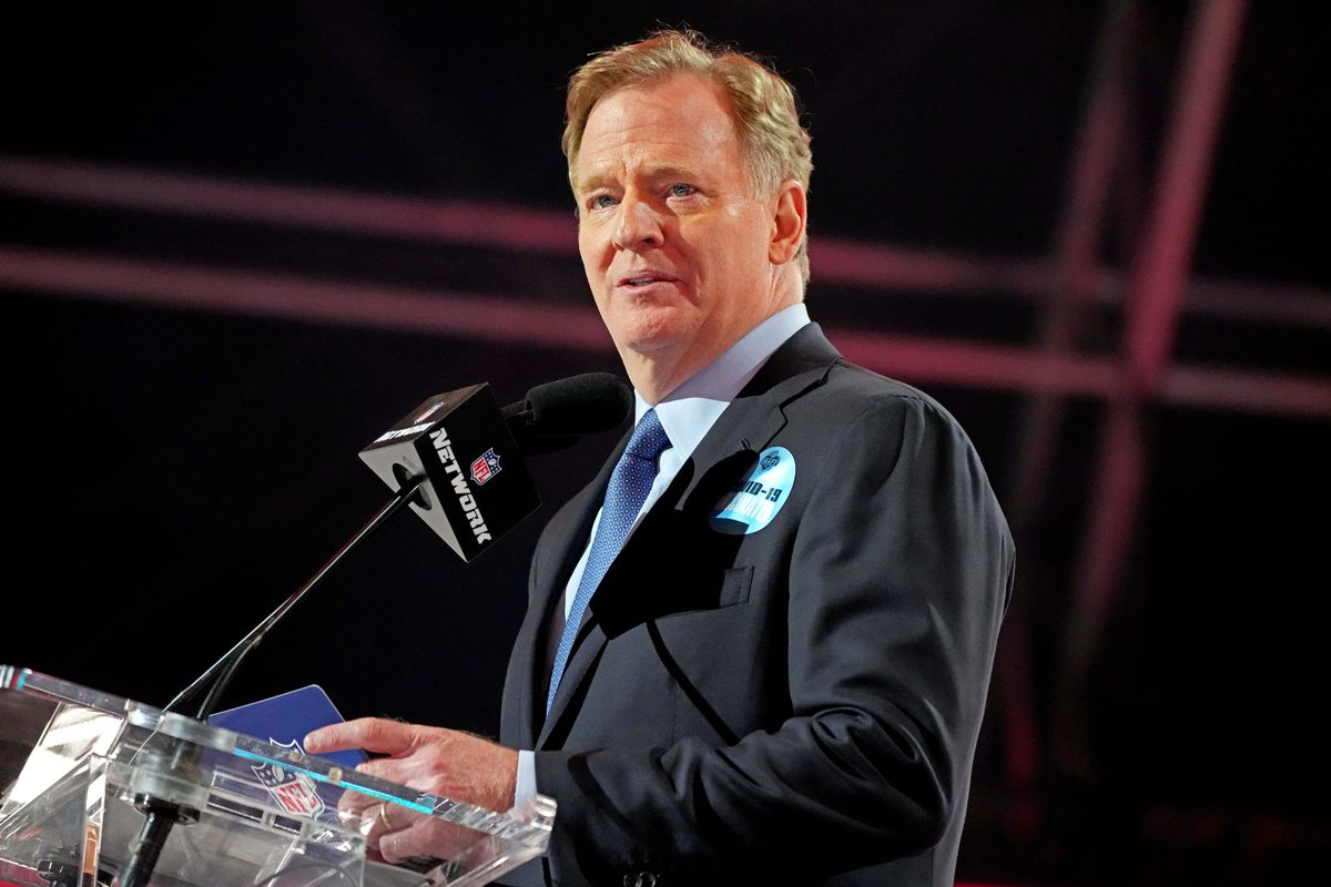 NFL commissioner Roger Goodell announces the final pick of the 2021 NFL Draft for the Tampa Bay Buccaneers at First Energy Stadium.
