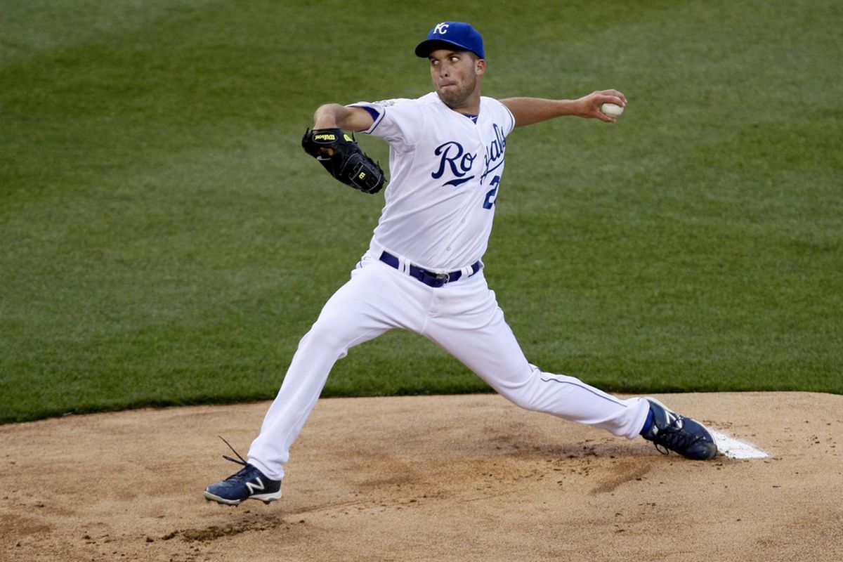 KANSAS CITY, MO - APRIL 16:  Danny Duffy #23 of the Kansas City Royals pitches against the Detroit Tigers in the first inning April 16, 2012 at Kauffman Stadium in Kansas City, Missouri. (Photo by Ed Zurga/Getty Images)