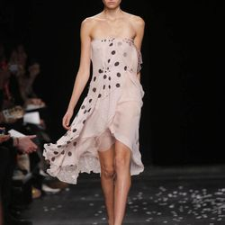 A model wears a creation from British fashion designer  Peter Copping for Nina Ricci  ready to wear Spring-Summer 2013 collection, presented in Paris, Thursday, Sept. 27, 2012.