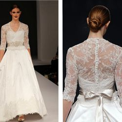 """Like the gown Kelly wore to wed Prince Rainier of Monaco, the <a href=""""http://www.elizabethjohns.com/products/anne-barge-anniston/"""">Anne Barge Anniston gown</a> from Ardmore's Elizabeth Johns bridal boutique"""