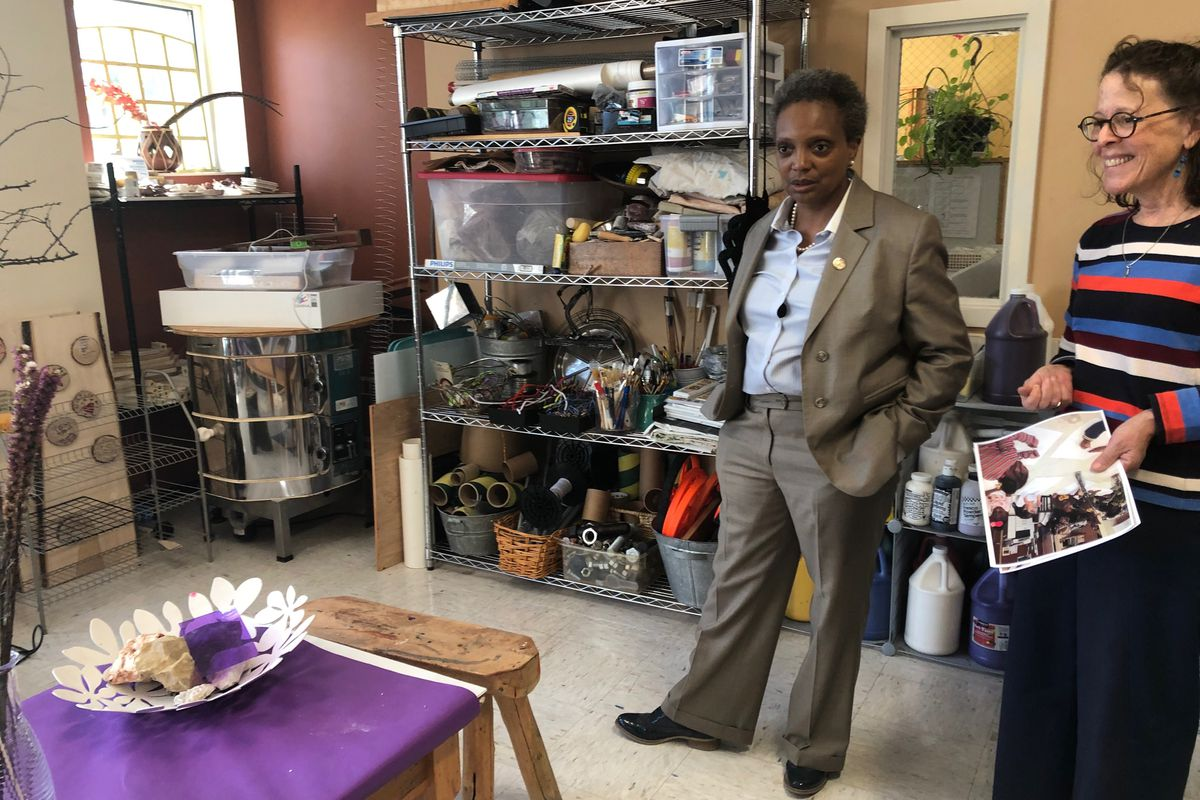 Chicago Mayor Lori Lightfoot tours an early learning center in August 2019 to promote the city's early learning expansion. The winners and losers of a grant competition were announced later that month.