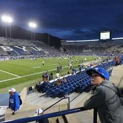 BYU and Mississippi State prepare to play in Provo at LaVell Edwards Stadium on Friday, Oct. 14, 2016.
