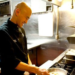 Chef Tim Ma in the kitchen at <b>Maple Ave</b>.