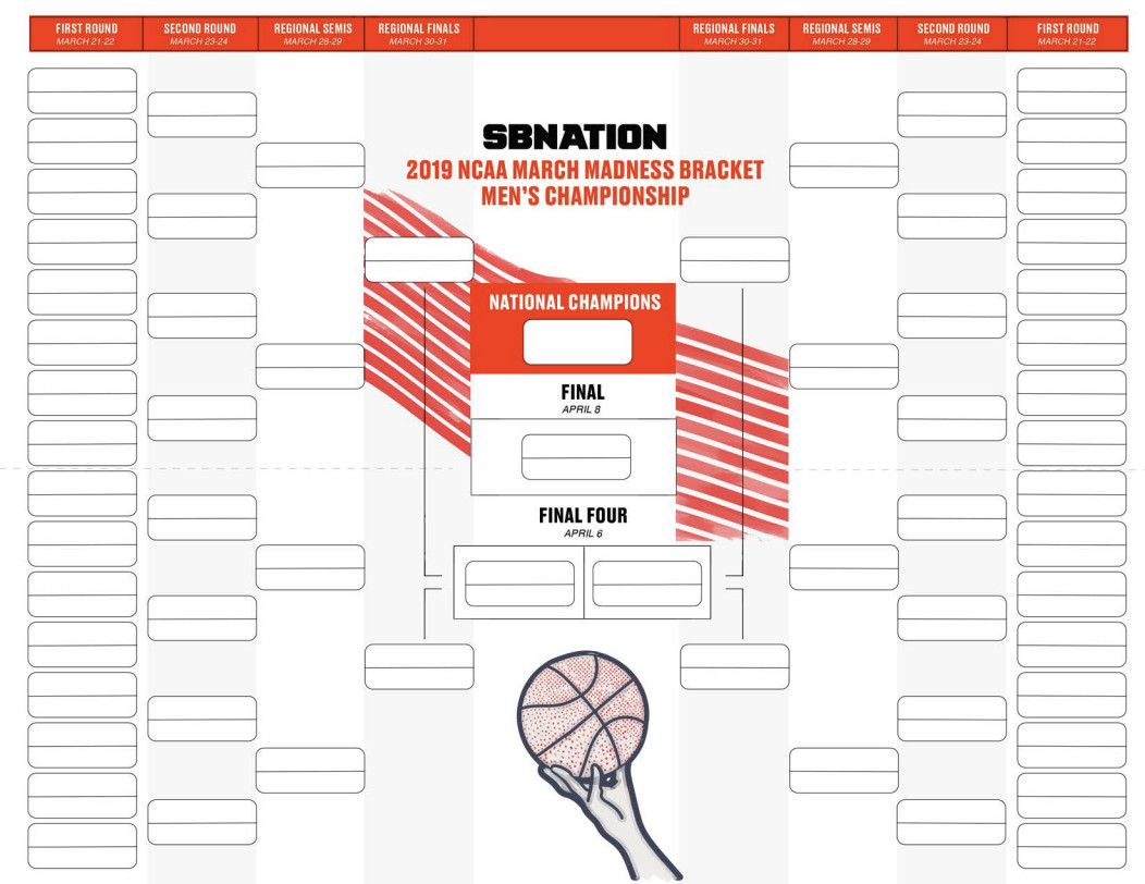 Selection Sunday 2019 Get Your Blank Printable Bracket Sbnation Com