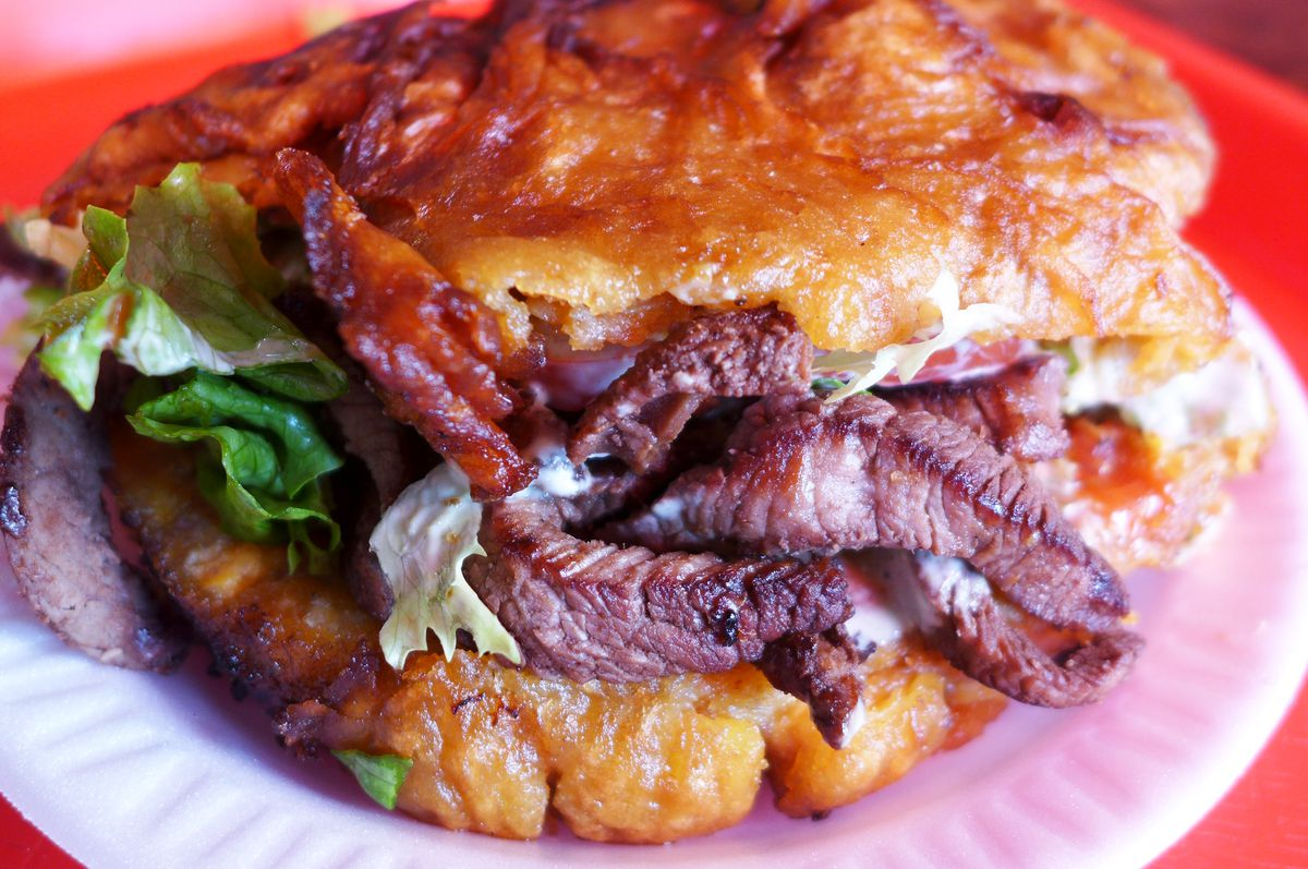 A beefsteak yoyo is made using sweet plantains.