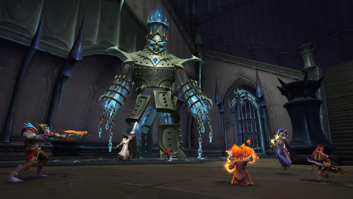 WoW heroes fight a metal boss