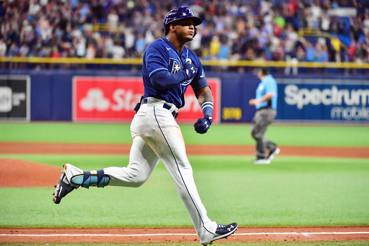Wander Franco #5 of the Tampa Bay Rays reacts after hitting a three-run home run during his Major League debut in the fifth inning against the Boston Red Sox at Tropicana Field on June 22, 2021 in St Petersburg, Florida.