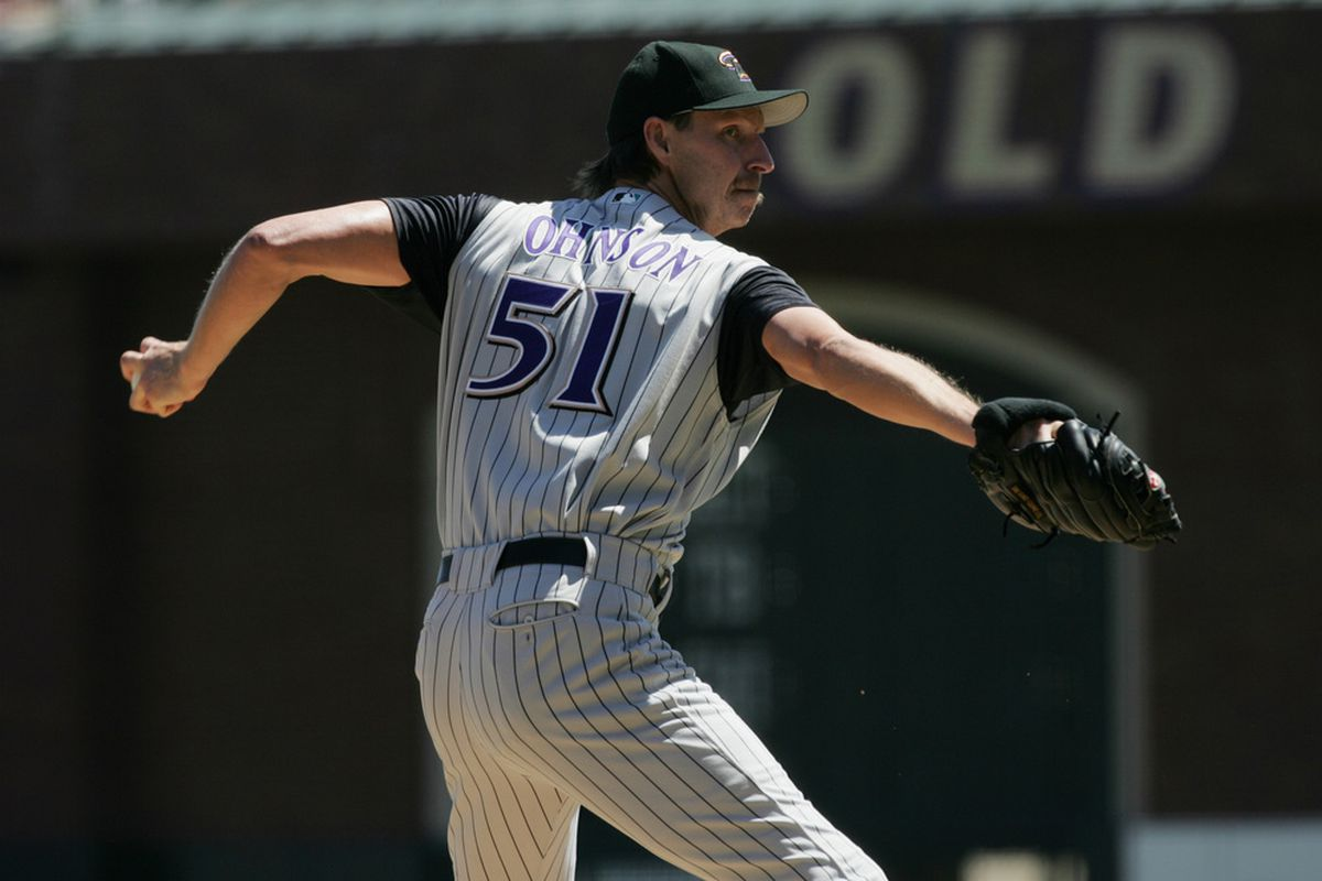 SAN FRANCISCO - SEPTEMBER 5: Pitcher Randy Johnson #51 the Arizona Diamondbacks delivers against the San Francisco Giants during the game at SBC Park on September 5, 2004 in San Francisco. (Photo by Stephen Dunn/Getty Images)