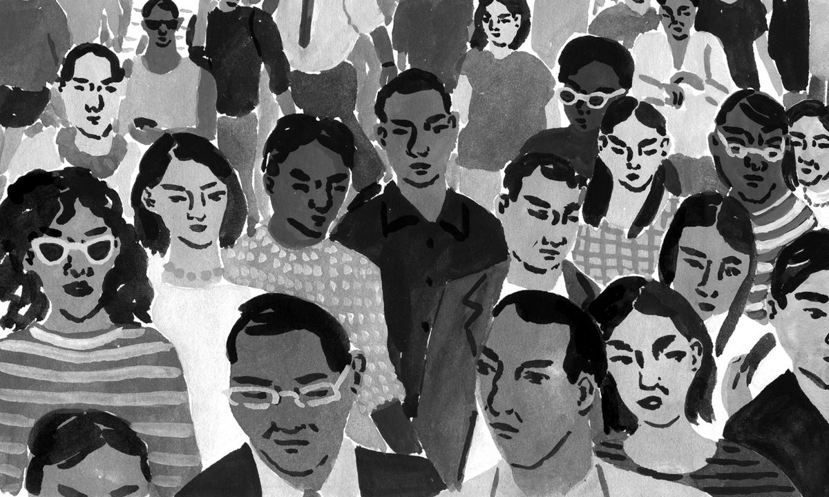 An illustration of a crowd in grayscale