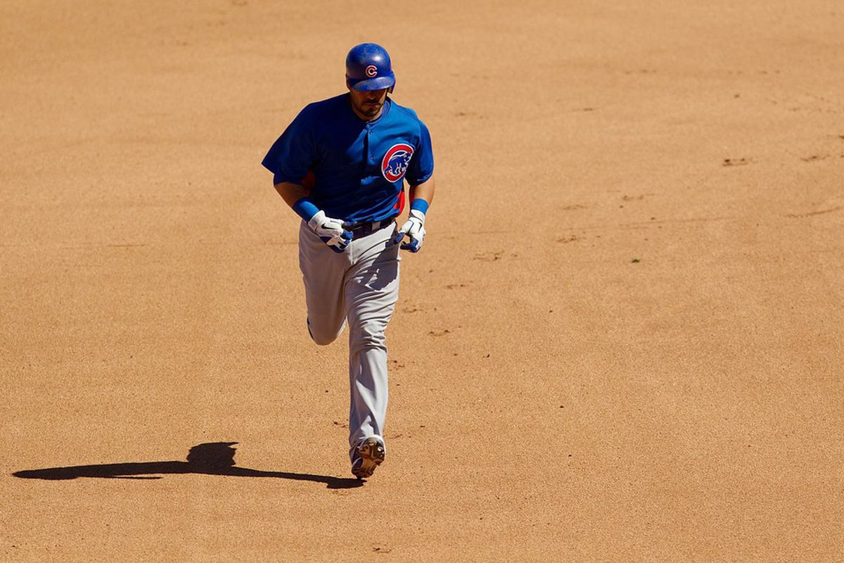 Salt River Pima-Maricopa, AZ, USA; Chicago Cubs catcher Geovany Soto rounds the bases after his home run in the fourth inning against the Colorado Rockies at Salt River Fields at Talking Stick. Credit: Allan Henry-US PRESSWIRE