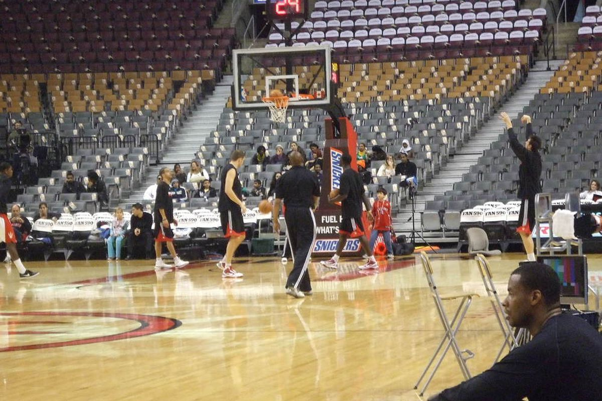 """It was great to see Toronto's coaches getting some time in with the Raps' """"bigs"""" before the game...unfortunately this team needs a lot more work still..."""