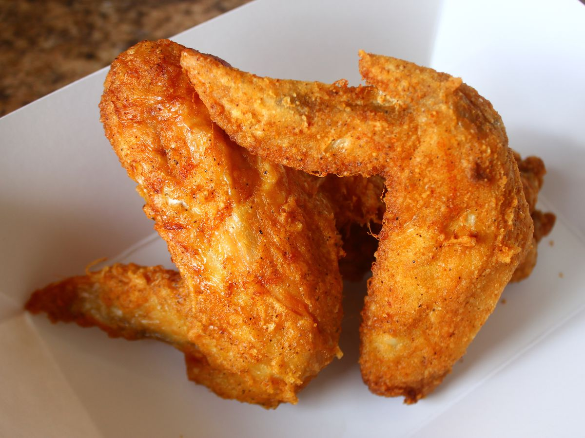 A closeup view of chicken wings.