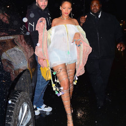 """May 30th: Rihanna at 1OAK in NYC in DQuared2's """"Riri"""" sandals."""