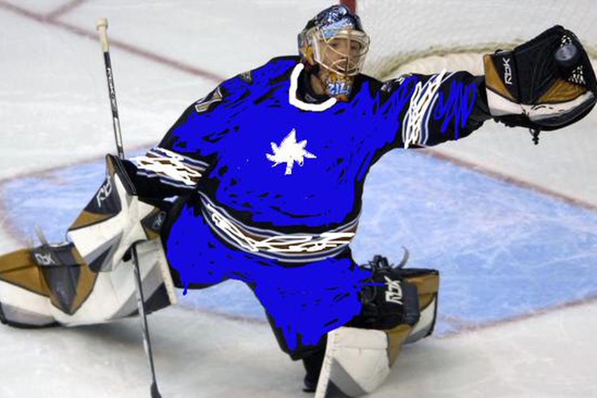 Olaf Kolzig in net for the Toronto Maple Leafs (artist's rendition)