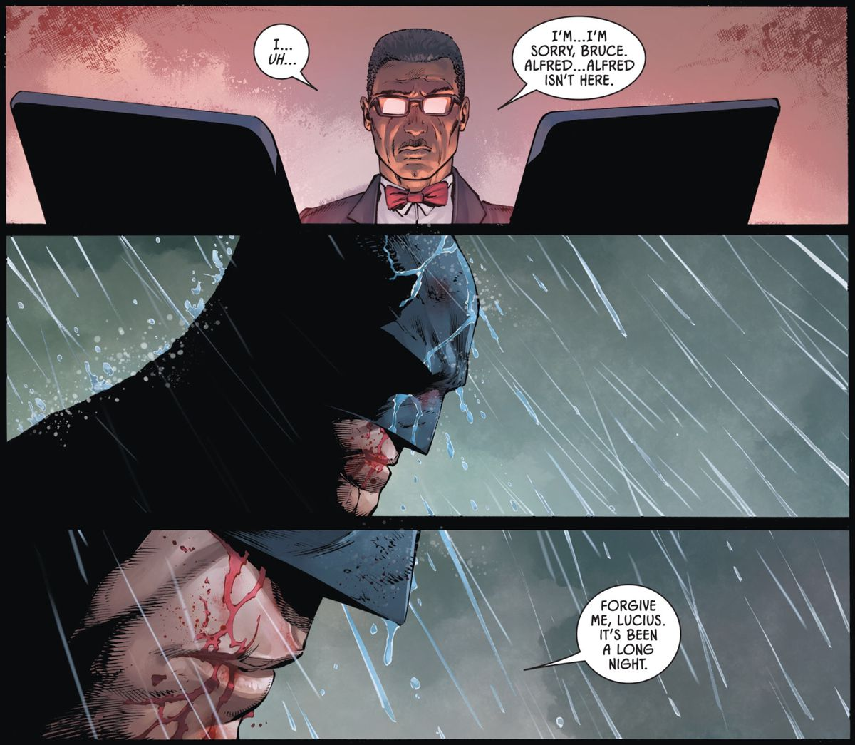 """""""I'm sorry, Bruce. Alfred... Alfred isn't here."""" Lucius says to Batman. Batman pauses, sadly, and then says """"Forgive me, Lucius, it's been a long night,"""" in Batman #86, DC Comics (2020)."""
