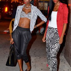 Shanierah and Mariah on Howard and Broadway. They're both wearing Necessary Clothing.