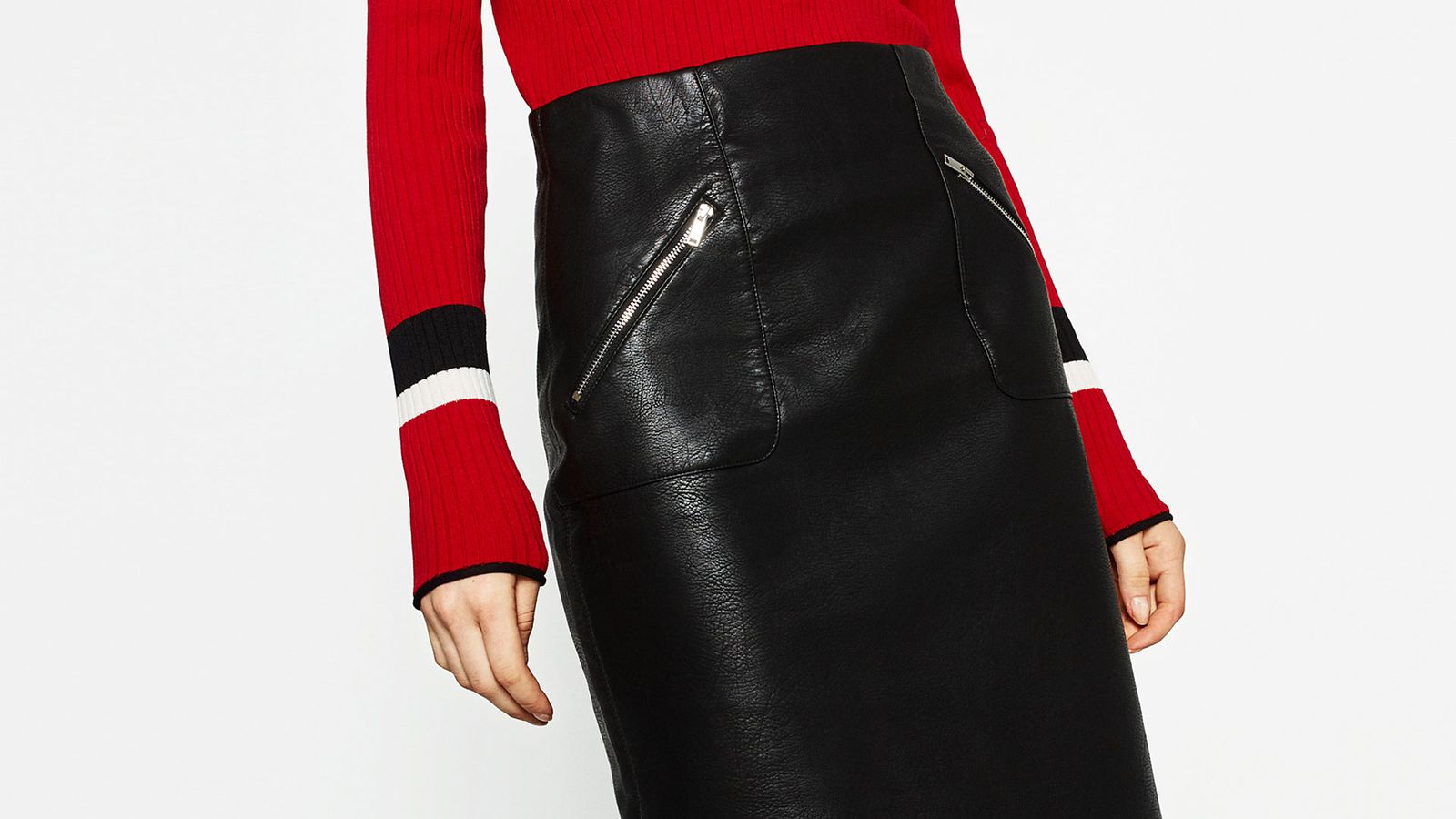 the faux leather pencil skirt that passes for the real