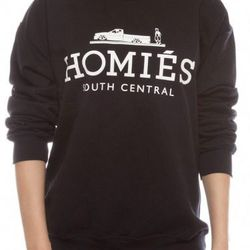 """Brian Lichtenberg black and white Homies sweatshirt, $98 at <a href=""""http://www.shopkitson.com/index.php?page=product&id=20920""""target=""""_blank"""">Kitson</a>"""