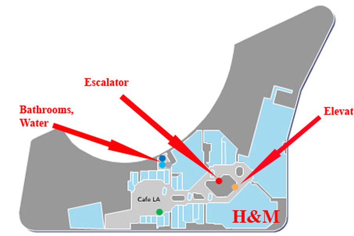 Location of the H&M and pertinent entry points at the Beverly Center. FYI this is level 8.
